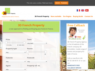 3D French Property Agency is the UK website of the French company 3D Immobilier