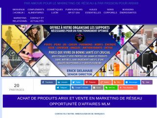 Opportunité d'Affaires MLM ARIIX et Vente Produits Naturels Forme, Santé et Bien-Être.