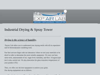 Exp'air Lab Séchage industriel. Tunnel, Tour d'atomisation, Infrarouge, Séchage sous-vide.