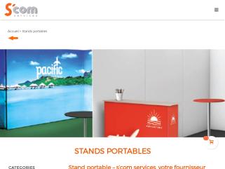Scom - Stand d'exposition pliable et portable pour des utilisations indoor et ourdoor lors d'événements professionnels. Spécialiste du stand photocall, background et stand modulable à Paris.